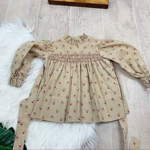 Vintage Tie Back Long Sleeve Printed Dress 3221